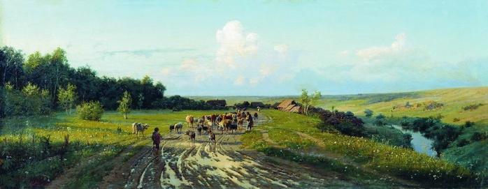 Возвращение стада. Вечер. 1882, Киселев А.