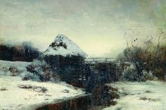 Левитан И., Зимний пейзаж с мельницей