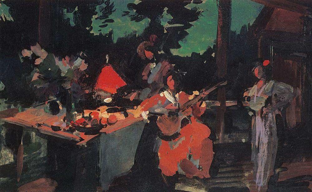 Коровин К. А. Терраса. Вечер на даче. 1901.