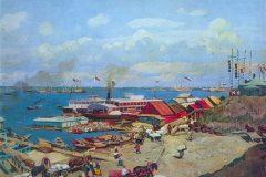 Константин Юон. Волжские пристани. 1911