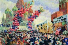 Борис Кустодиев. Вербный торг у Спасских ворот на Красной площади в Москве.