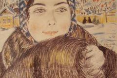 Борис Кустодиев. Молодая купчиха в клетчатом платочке