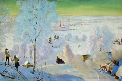 Борис Кустодиев. Лыжники.