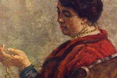 Кончаловский П., Портрет Ольги Васильевны Кончаловской, жены художника (в красном бусами).