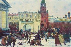 Константин Юон. Вступление в Кремль через Троицкие ворота 2(15) ноября 1917 года.
