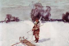 Колесников С. Ф., Молодой человек с санями,
