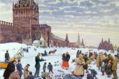 Константин Юон. Кормление голубей на Красной площади