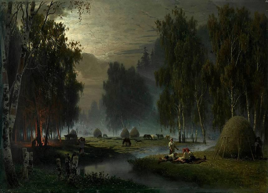 Суходольский Косари.Вечерний отдых.1887 год