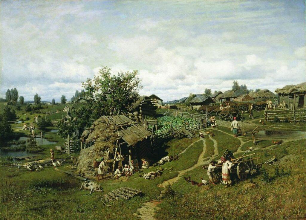 картина Суходольского Полдень в деревне Желны Калужскогй губернии