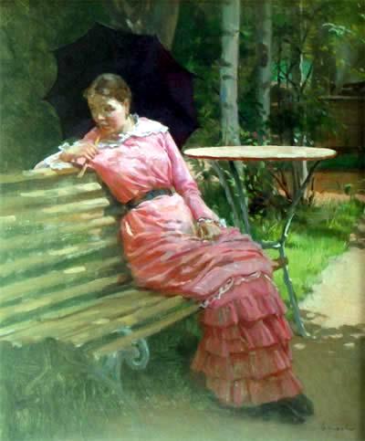 «На скамейке. Варька», (1893-1894), Лемох