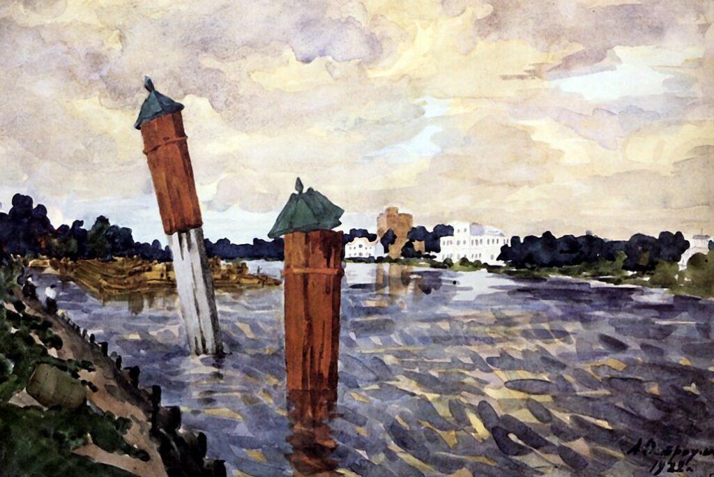 Петроград. Красные колонны