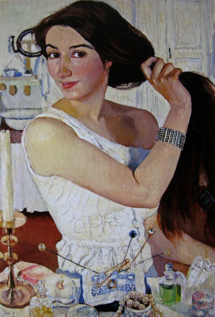 За туалетом. Автопортрет. 1909.