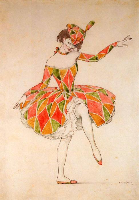 Эскиз костюма Коломбины для Анны Павловой в Арлекинаде, 1909
