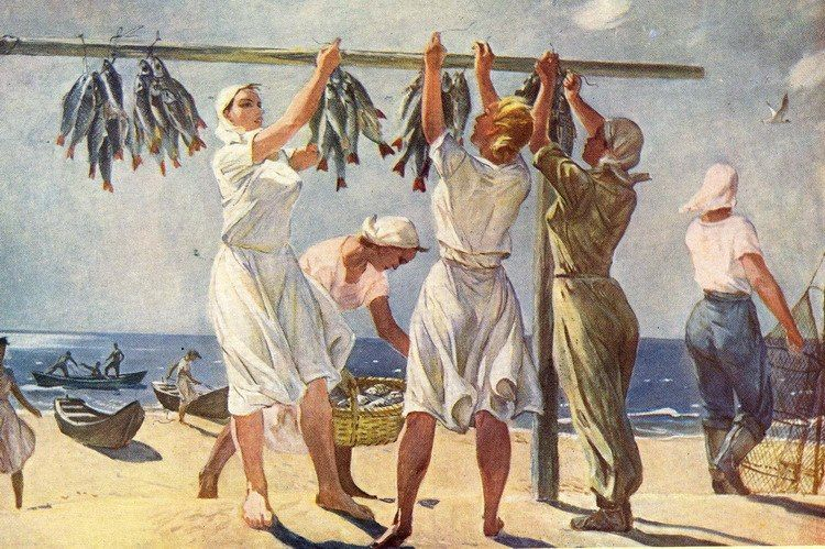 Александр Дейнека,  «У моря. Рыбачки»