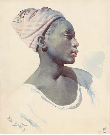 Молодой дагомеец. 1895. Бумага, акварель, 30,2х25