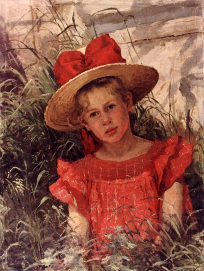 Женщины художницы 19-20 вв.  Портрет девочки. 1901.  Базанова Л. П