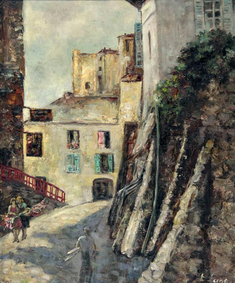 Ланг (Аронсберг) Евгения Александровна,  Монмартр. Холст, масло. 61х50. 1939.