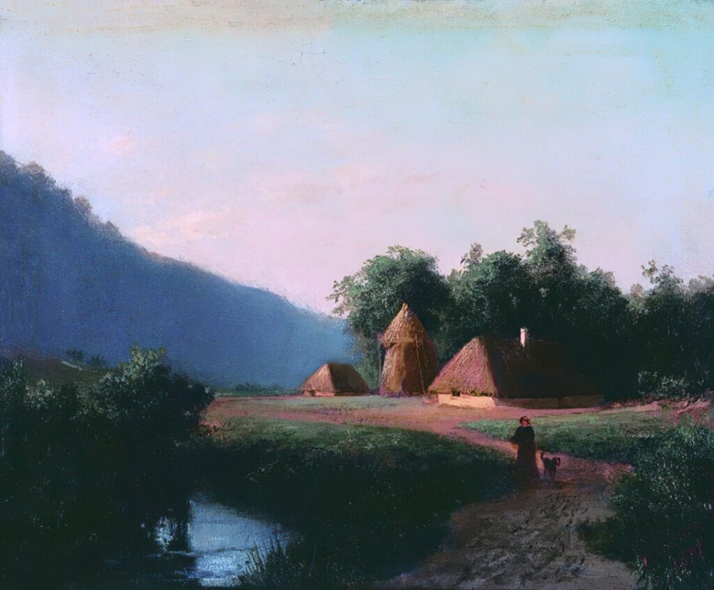 Куриар П. П., Пейзаж. Картон, масло. 21х25,5. 1870.