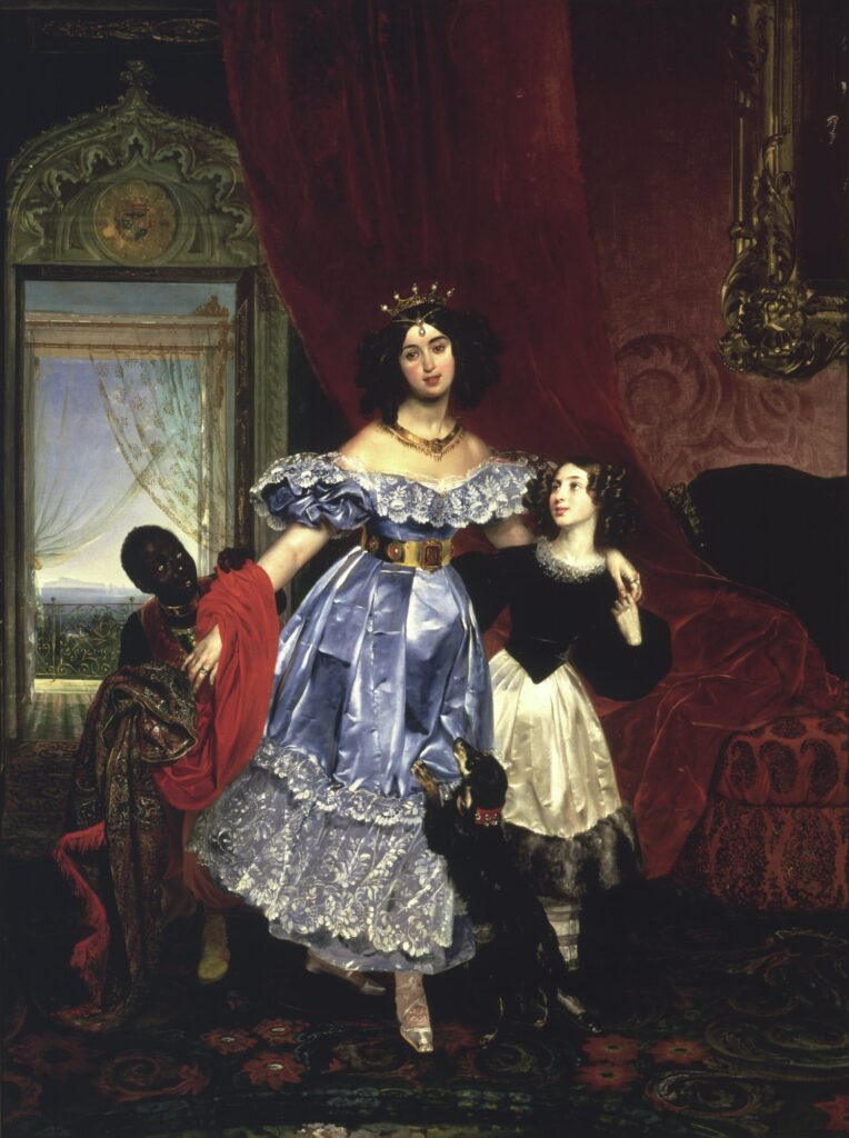 Портрет графини Ю. П. Самойловой с воспитанницей Джованиной Пачини и арапчонком, 1834