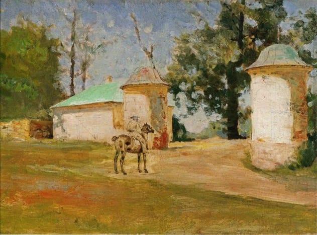 Л.Н.Толстой верхом у въезда в Ясную Поляну, 1905, Похитонов И.