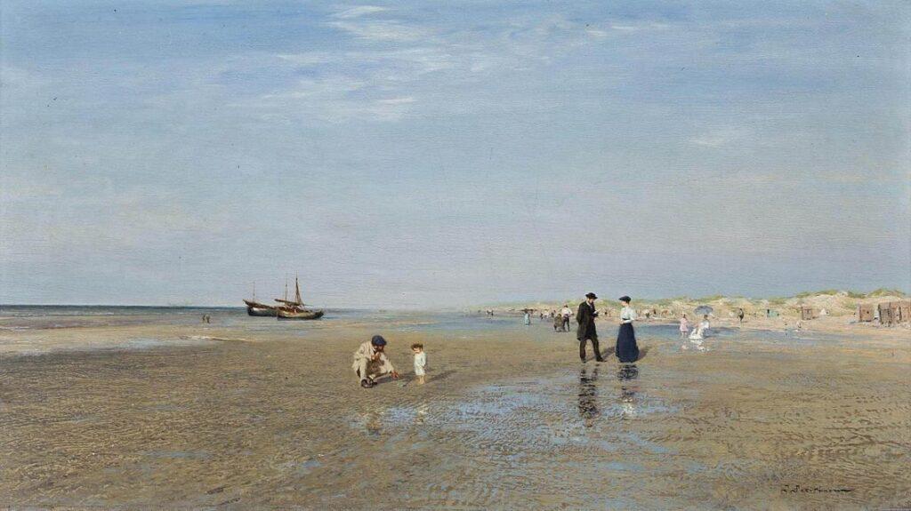 На пляже (Берег моря в Ла Панне), 1895, Похитонов И.