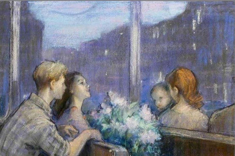 Брюлин Иосиф Гиршевич (1910-1976) «Весенний вечер» из серии «Москвичи» 1961
