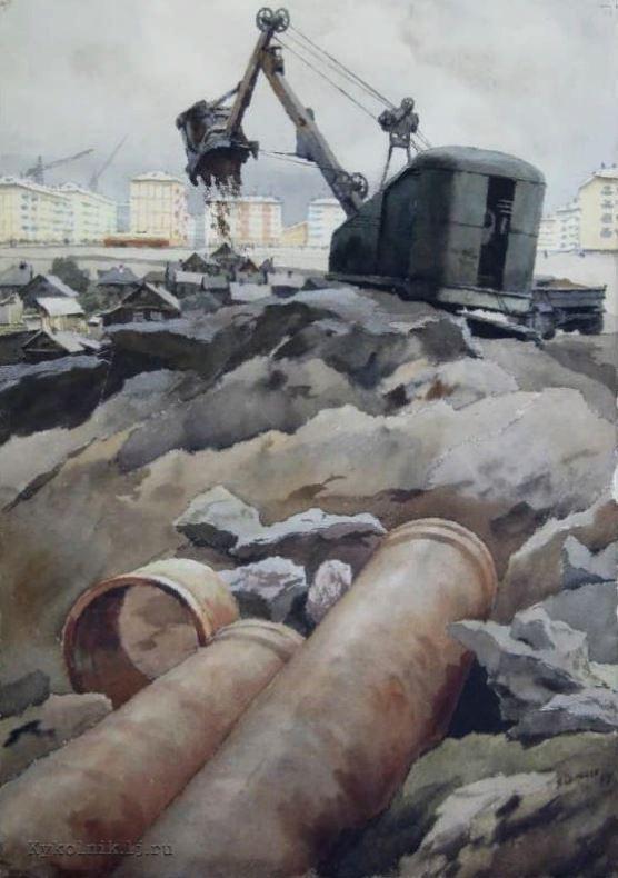 Семёнов Б. А. (1917-1991) «К новому городу» 1965