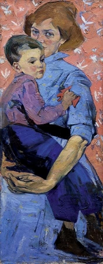 Горская А. А. (1929-1970) «Автопортрет с сыном» 1960