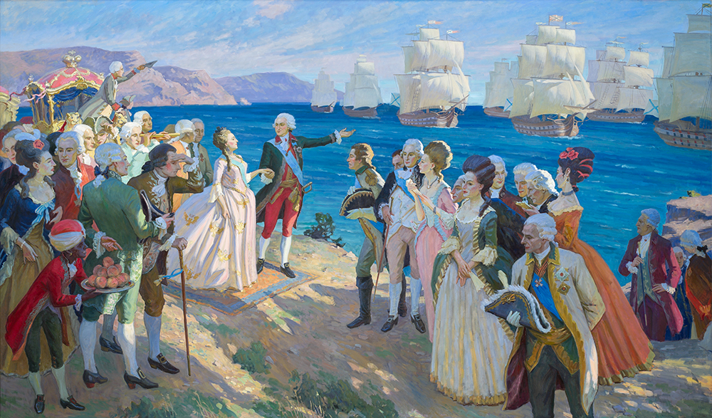 Потемкин показывает Екатерине Черноморский флот.