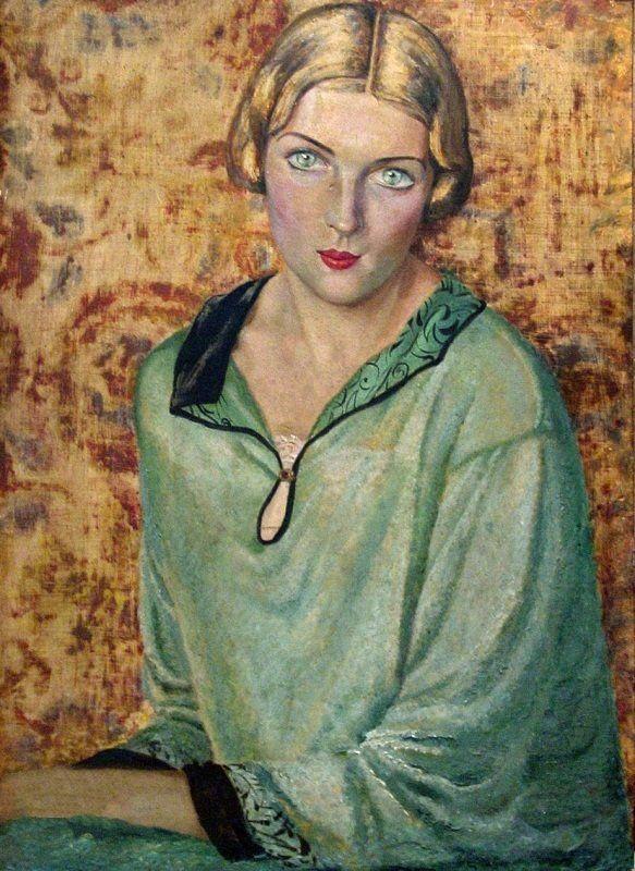 Попов Николай Николаевич (1888-1953) «Портрет женщины с зелеными глазами. Актриса Анель Алексеевна Судакевич – мать Бориса Мессерера» 1931